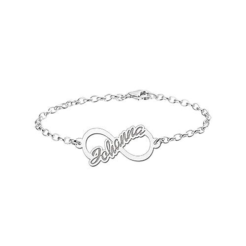 Namesforever Infinity Armband mit Wunschnamen graviert aus Silber für Kinder und Erwachsene