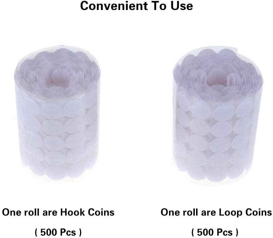 White 4//5 Diameter Sticky Back Coins Hook /& Loop Self Adhesive Dots Tapes 1000 Pcs 500 Pairs