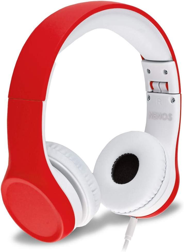 Nenos Auriculares Para Niños con Limitador de Volumen y Cable Cascos de Diadema Infantiles Plegables y Ajustables Para Escuchar Música y Vídeos en Móvil o PC
