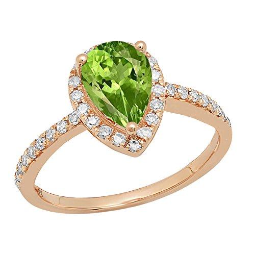 14K Rose Gold 9X6 MM Pear Peridot & Round White Diamond Ladies Halo Engagement Ring (Size 5.5)