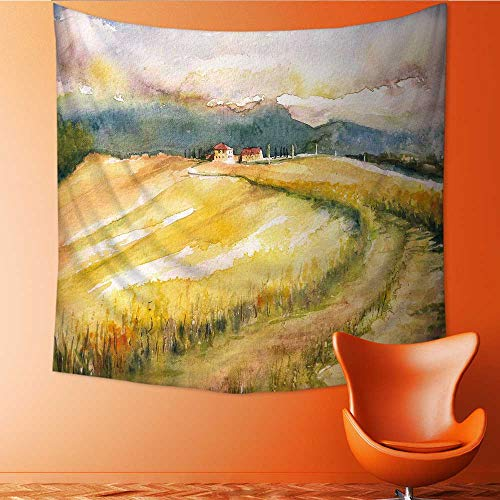 UHOO2018 Wall Hanging Tapestries Country Landscape with Typical Tuscan Hills in Italy Watercolors Large tablecloths 70W x 70L Inch (Tuscan Series Island)