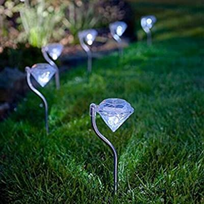 4Pcs/lot Outdoor Solar Power Diamond Shape LED Garden Yard Path Wall Landscape Garden Fence Decorative Lamp Light Lighting