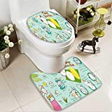 Analisahome U-shaped Toilet Mat-Soft mango with sticky rice thai dessert vector illustration 2 Piece Toilet Toilet mat