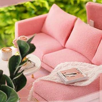 CUTEBEE Dollhouse Miniature with Furniture DIY Wooden Dollhouse Kit Plus Dust Proof 1:24 Scale Creative Room Idea