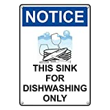 Weatherproof Plastic Vertical OSHA NOTICE This Sink For Dishwashing Only Sign with English Text and Symbol