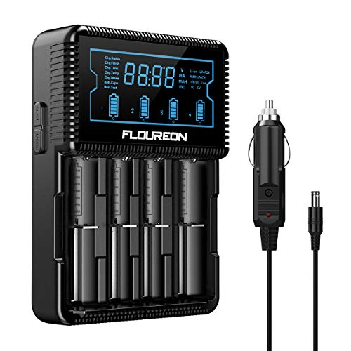 Universal Smart Battery Charger,Floureon 18650 Battery Charger with LCD Display, Power Adapter, Car Adapter for Rechargeable Batteries Ni-MH Ni-Cd AA AAA C Li-ion 18650 26650 14500 16340 18500 ()