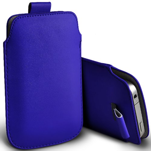 ( Blue ) Acer Liquid E700 Protective Stylish Fitted Faux Leather Pull Tab Pouch Skin Case Cover by ONX3