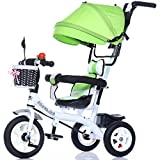 QXMEI Children's Tricycle Trolley 1-3-5 Year Old Baby Stroller Bike Baby Baby Stroller with Sunshade,Green