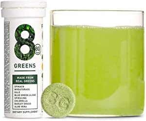 8Greens Effervescent Super Greens Dietary Supplement - 8 Essential Healthy Real Greens in One (3 Tubes / 30 Tablets)