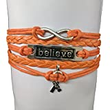 Orange Ribbon Bracelet, Leukemia Awareness, MS Awareness, Self Injury, Kidney Cancer, ADHD, Malnutrition Awareness, Awareness Jewelry Hope Believe