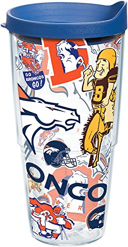 Tervis 1247901 NFL Denver Broncos All Over Tumbler with Wrap and Blue Lid 24oz, Clear