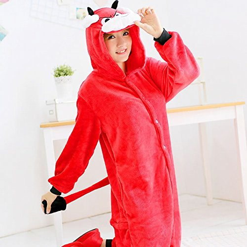 Animale xl Inverno Svago Di pigiama Pigiami Usura Peluche Piece One Deed Adult Rosso Costume Ispessimento Unisex Cosplay zwq8CzHxaO