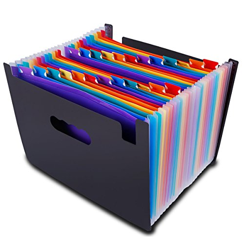 Multicolored Expanding Files Folder (24 Pockets) - CrazyLynX Portable A4 Expandable Accordion File Organizer, High Capacity Plastic Stand Bag with Colored Labels for Office/Business/Study