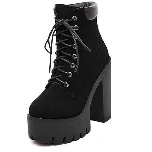 Las Mujeres Botas De Moda Botines De TacóN Grueso Tacones Altos Zapatos De Plataforma Flock: Amazon.es: Zapatos y complementos