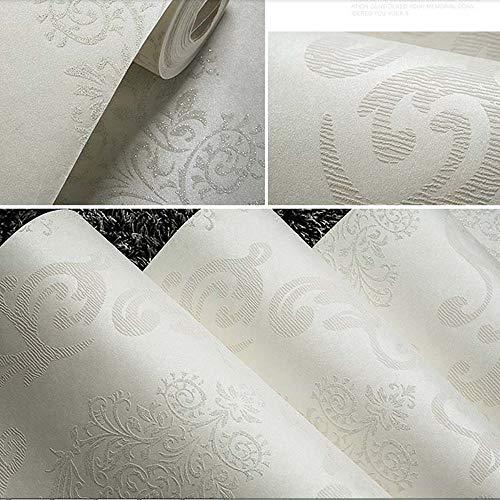 QIHANG European Style Luxury 3D Damask Pearl Powder Non-woven Wallpaper Roll Cream-white Color 0.53m x 10m=5.3㎡ by QIHANG (Image #5)