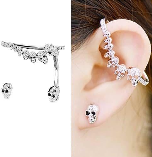 CIShop Unique Design Alloy Zircon Diamond Skulls Stud Earrings Ear cuff Earring Ear Ring Sweet Ear Wrap