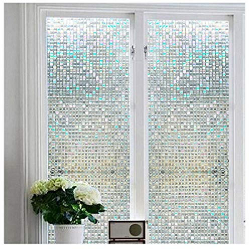 "Window Film Non-Adhesive Self Privacy Static Cling Privacy Decorative Stained Glass Heat Control Anti UV for Living Room,Home,Bathroom,Office(17.7""x78.7"")"