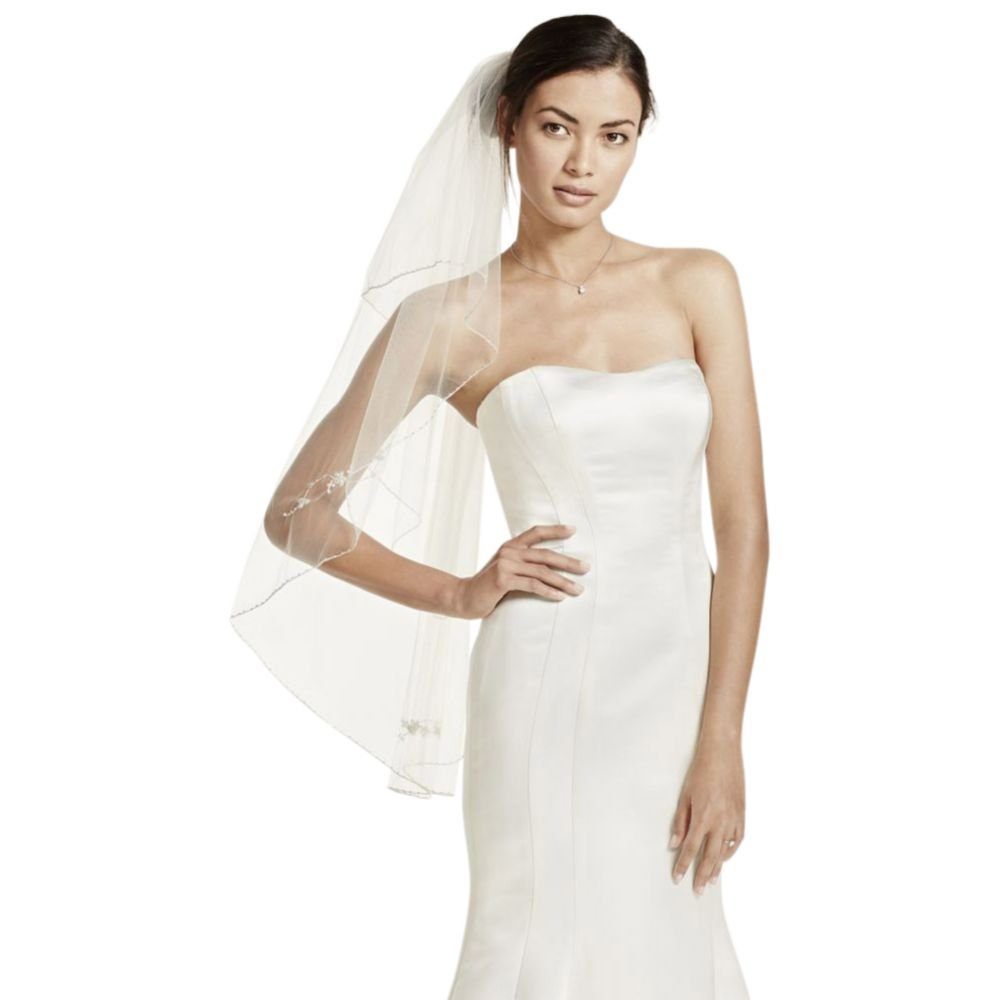 Two Tiered Veil with Beaded Metallic Detail Style VCT258S, Gold by David's Bridal (Image #1)