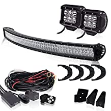 QUAKEWORLD Offroad Led Light Bar 54 Inch Black Curved Spot Flood Combo Beam Windshield Roof Bumper Lights for Truck Ford Tahoe Kubota Tundra Chevy Bronco Boat Chevrolet Silverado Jeep Toyota GMC UTV