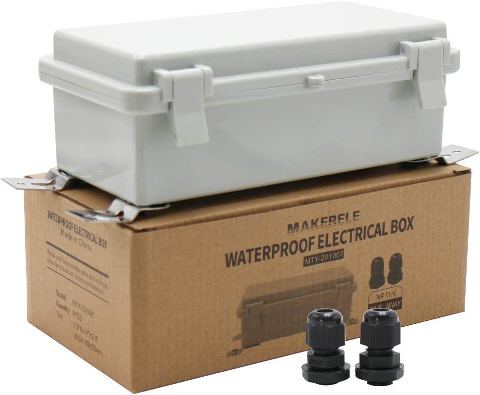 MAKERELE Waterproof Electrical Box Outdoor Junction Hinged Cover Plastic Clip 7.9