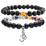 Jovivi 2pcs 7 Chakras Bracelet Lava Rock Stone Crystal Reiki Healing Balancing Natural Gemstone Round Beads for Essential Oil w/Box,Various Sets