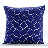 "Designer Blue Shams, Lattice Trellis Pillow Shams, 24""x24"" Pillow Sham, Square Cotton Linen Shams, Contemporary Pillow Shams - Royal Blue Illumination"