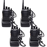 QITAO4pcs Walkie Talkie BaoFeng BF-888S Two Way Radio Rechargeable Interphone with Earpiece Built in LED Torch Handheld 5W 16 Channel UHF 400-470 MHz CTCSS DCS(Pack of 4)