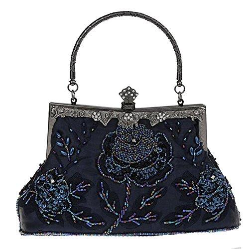 Clutch Evening Party Handbags Bead Retro Deep Women Wedding Bags EPLAZA Satin Blue Purse Flora YwRfHAqg