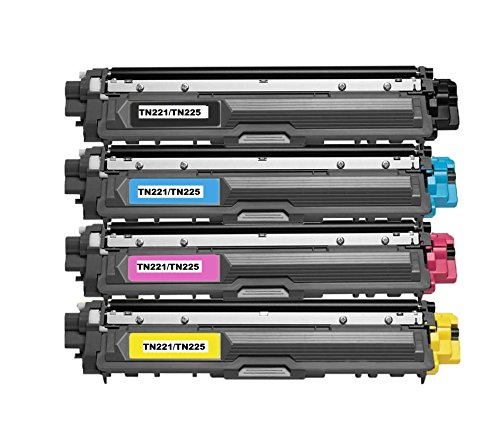 Speedy Toner Compatible Toner Cartridges TN221/TN225 use for Brother MFC-9130 MFC-9130CW . Replaces Part # TN-221BK, TN-225C, TN-225Y and TN-225M- (4 Pack)