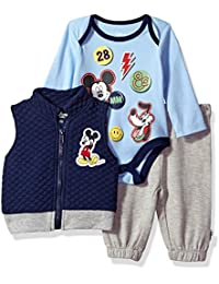 Baby Boys' Mickey Mouse 3 Piece Vest, Bodysuit OR...