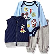 Disney Baby Boys' Mickey Mouse 3 Piece Vest, Bodysuit Or T-Shirt, and Pant Set, Medieval Blue, 6-9M