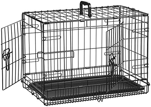 AmazonBasics Double-Door Folding Metal Dog Crate - 22 Inches