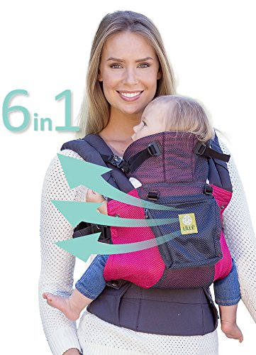 LÍLLÉbaby The COMPLETE Airflow SIX-Position 360° Ergonomic Baby & Child Carrier, Charcoal Berry - Cotton Baby Carrier, Ergonomic Multi-Position Carrying for Infants Babies Toddlers