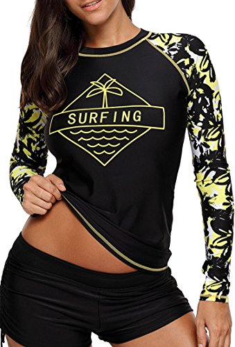 Aleumdr Womens Long Sleeve Rashguard Swimwear Rash Guard Athletic Tops No Bottoms S – XXXL