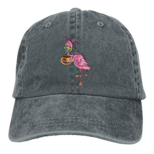 Halloween Flamingo Pumpkin Denim Hat Adjustable Mens Dad Baseball Hat -