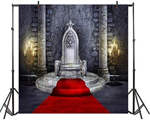 Fantasy 6x8 FT Photo Backdrops,Sinister Dark Fiction Throne with Heraldic Emblem on The Background Gothic Art Background for Baby Birthday Party Wedding Vinyl Studio Props Photography Orange Black