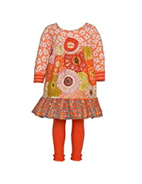 Baxter & Beatrice Little Girls Orange Flower Ruffle Designer Legging Set 2T-6X