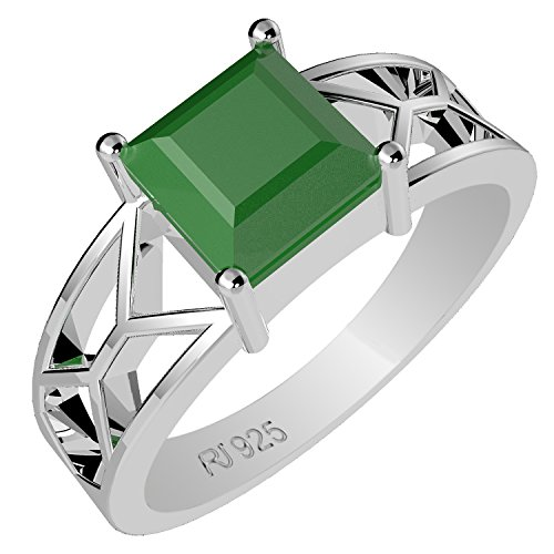 1.15ctw,Genuine Emerald 6x6mm Square & Solid .925 Sterling Silver Ring (Size-7)
