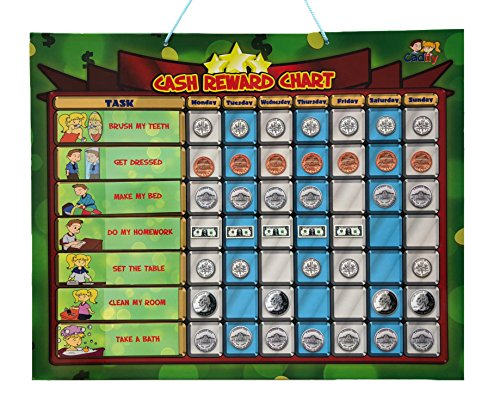 Cadily Magnetic Cash Reward Chart for Kids | Responsibility Chart |144 Money Magnets | 15 Chore Chart Magnets | Learn About Money | Good Behavior Chart | Allowance Game | Chores Board