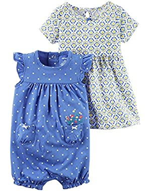 Baby Girls' 2 Piece Paisley Dress and Romper Set