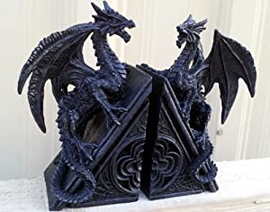 Gothic dragon bookends midieval book ends evil medieval black dragon bookends - Gothic bookends ...