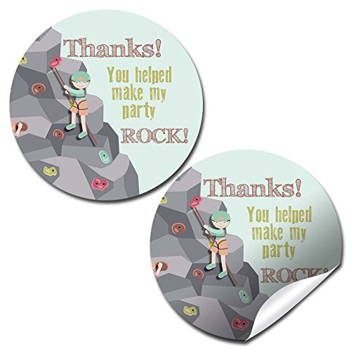 Rock Climbing Birthday Party Thank You Sticker Labels, 40 2