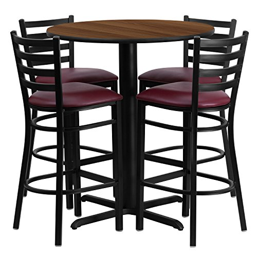 Flash Furniture 30'' Round Walnut Laminate Table Set with 4 Ladder Back Metal Barstools - Burgundy Vinyl Seat (Game Walnut Set Table)