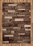 Wooden Area Rug by Ambesonne, Wall Floor Textured Planks Panels Picture Art Print Grain Cottage Lodge Hardwood Pattern, Flat Woven Accent Rug for Living Room Bedroom Dining Room, 5.2 x 7.5 FT, Brown