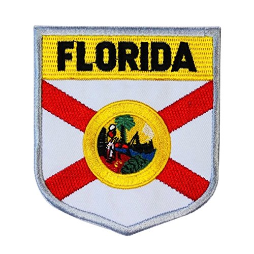 State Flag Shield Florida Patch Badge Travel USA Embroidered Iron On Applique ()