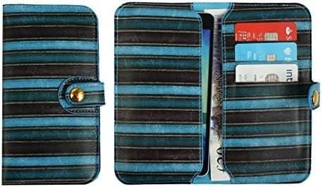 Emartbuy Azul Rayas Vintage Cuero PU Magnética Delgada Funda ...