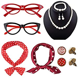 TUPARKA 12 Pieces 50s Costume Accessories Set Cat Eye Glasses Fancy Dress for Women