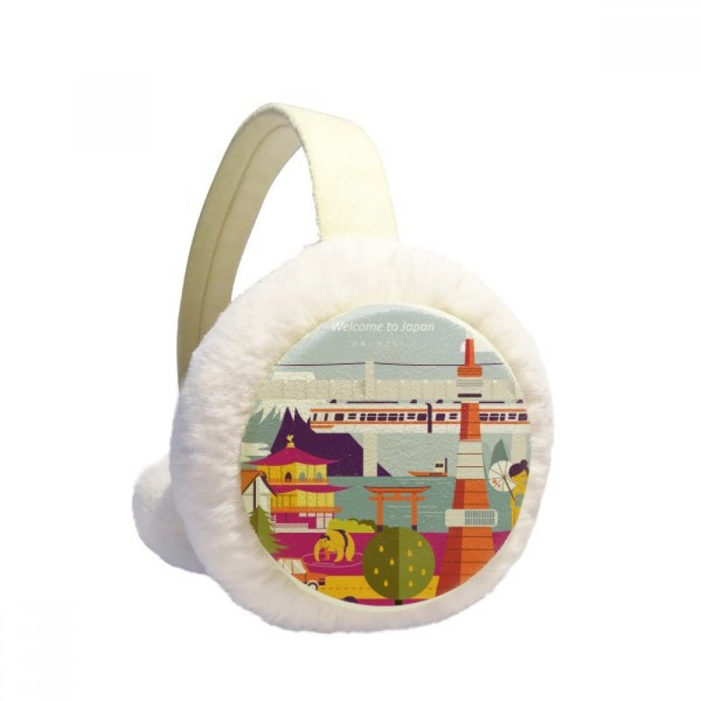 Local Japanese Famous Sightseeing Winter Earmuffs Ear Warmers Faux Fur Foldable Plush Outdoor Gift