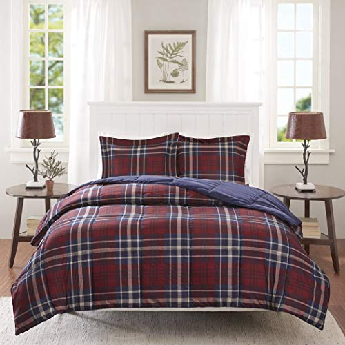 (3 Piece Navy Blue Burgundy Red Plaid Comforter Full Queen Set, Cozy Warm Cabin Themed Bedding Checked Lumberjack Pattern Lodge Southwest Tartan Madras Cottage, Reversible Solid Color Microfiber)