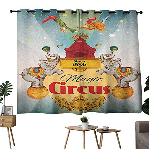 bybyhome Circus Grommets Room Darkening Curtains Magic Circus Tent Show Announcement Vintage Style Aerialist Acrobat Performance Curtain Decoration Multicolor W72 x L72 -